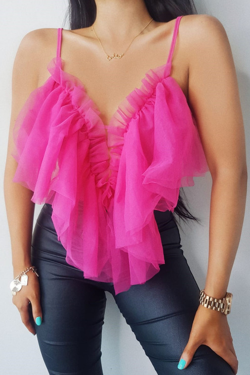 Pink Ruffle Mesh Bodysuit