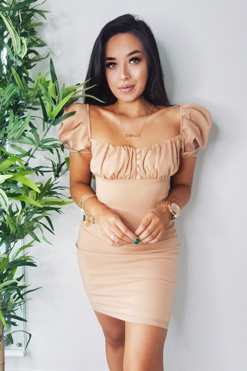 Nude Milkmaid Bardot Mini Dress