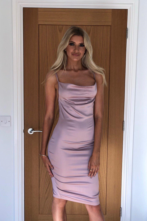 Mauve Satin Midi Dress