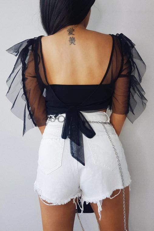Black Organza Tie Back Crop Top