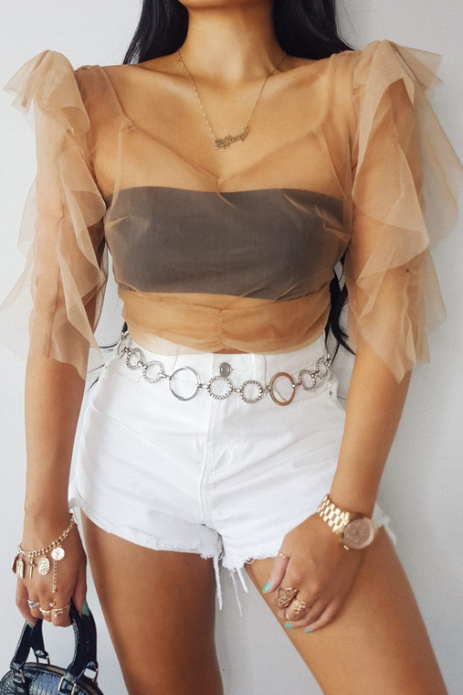 Nude Organza Tie Back Crop Top