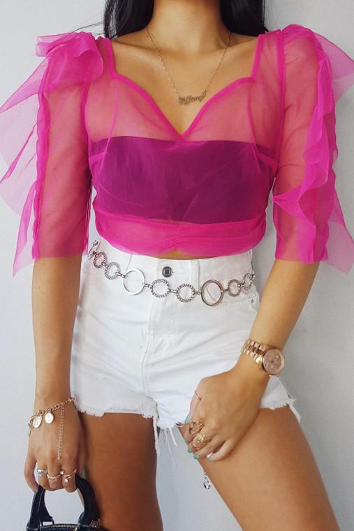 Pink Organza Tie Back Crop Top