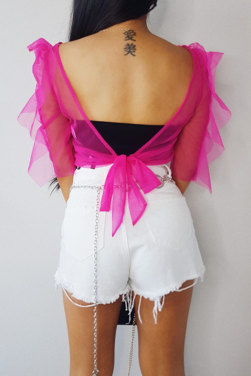 Pink Organza Tie Back Crop Top