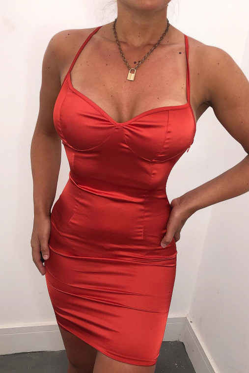 Red Ruched Back Satin Mini Dress