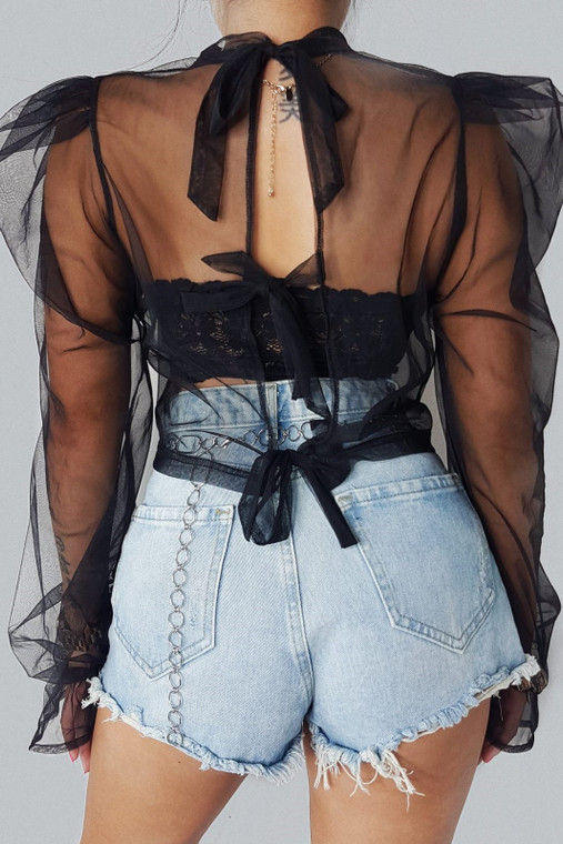 Black Organza Tie Back Top