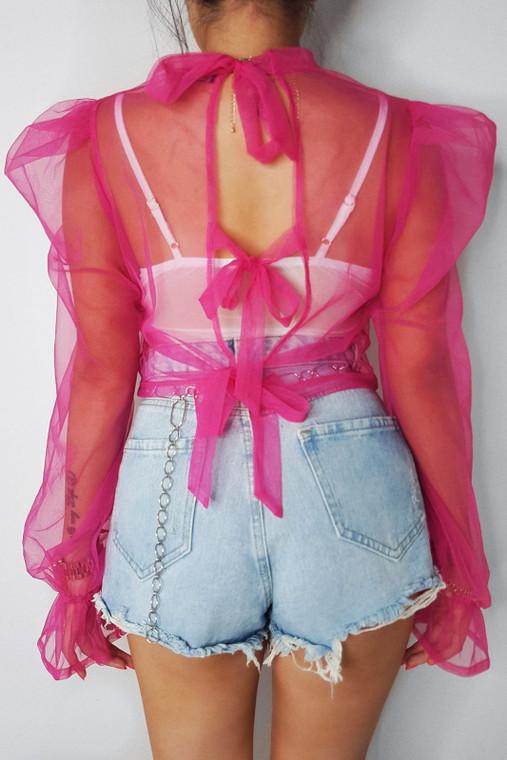 Pink Organza Tie Back Top