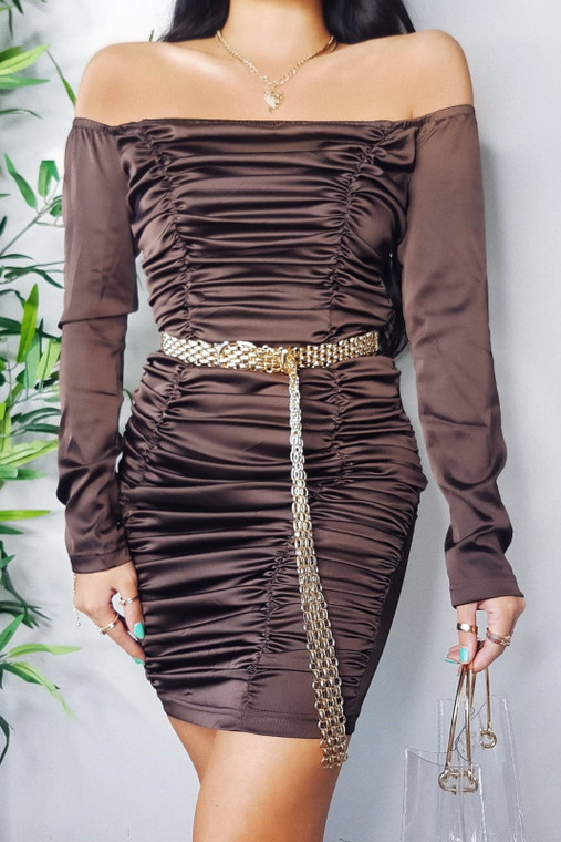 Chocolate Ruched Satin Mini Dress