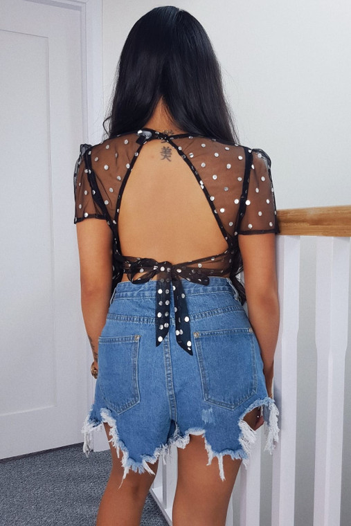 Black Polka Dot Mesh Top