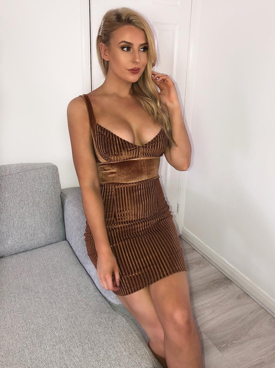 Caramel Corduroy Mini Dress