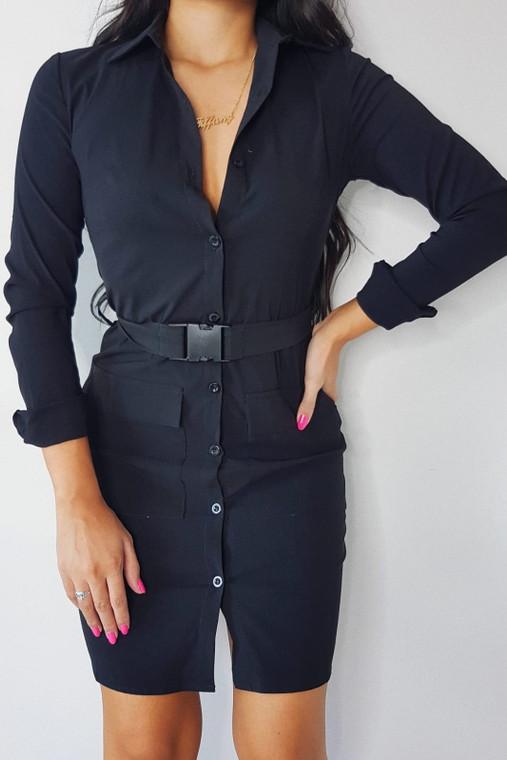 Black Belted Utility Shirt Dress