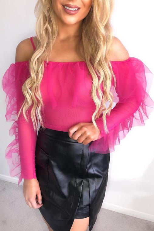 Pink Off Shoulder Organza Top