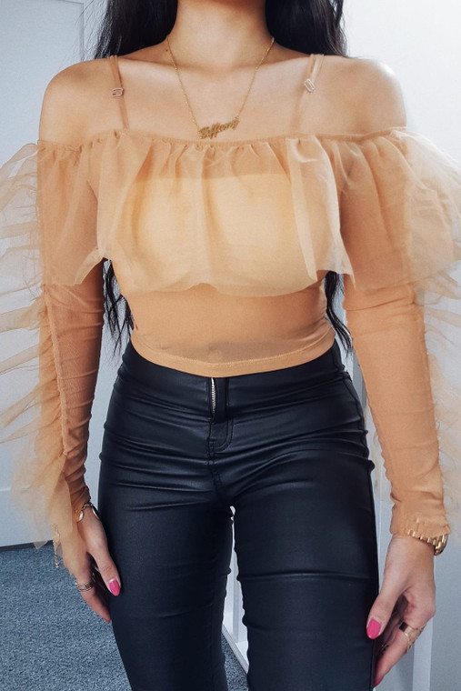 Nude Off Shoulder Organza Top
