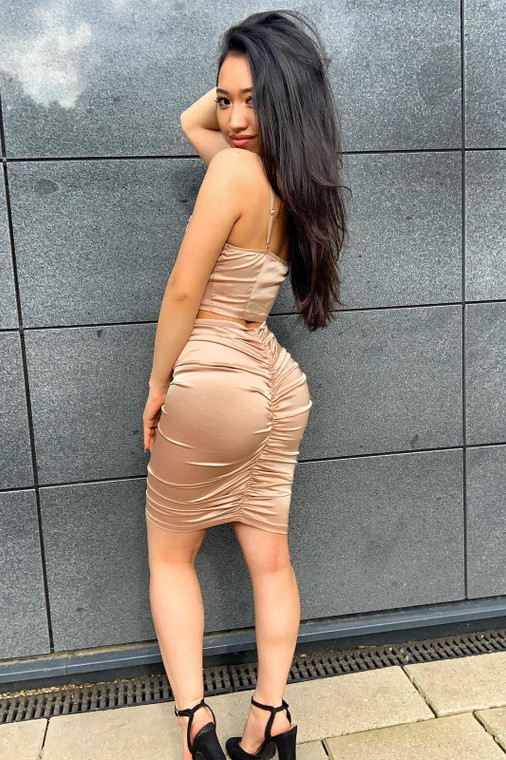 Champagne Satin Top & Ruched Skirt Co-ord