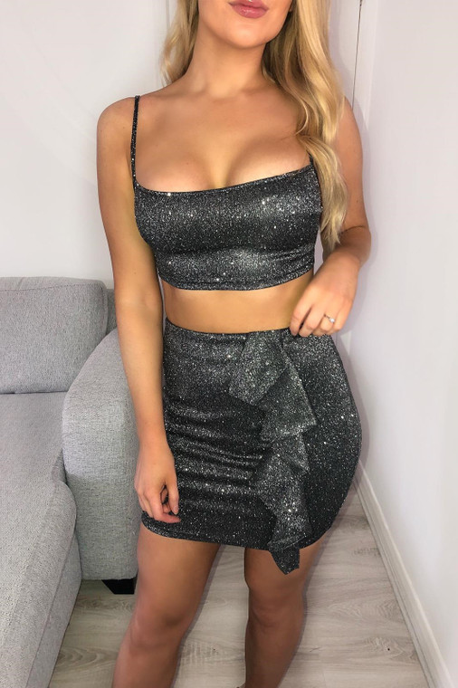 Black Glitter Ruffle Co-ord