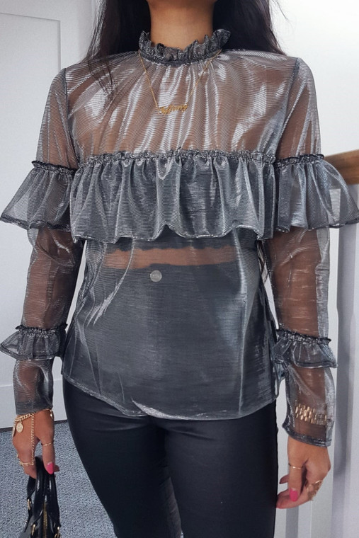 Black Metallic Semi Sheer Long Sleeve Top