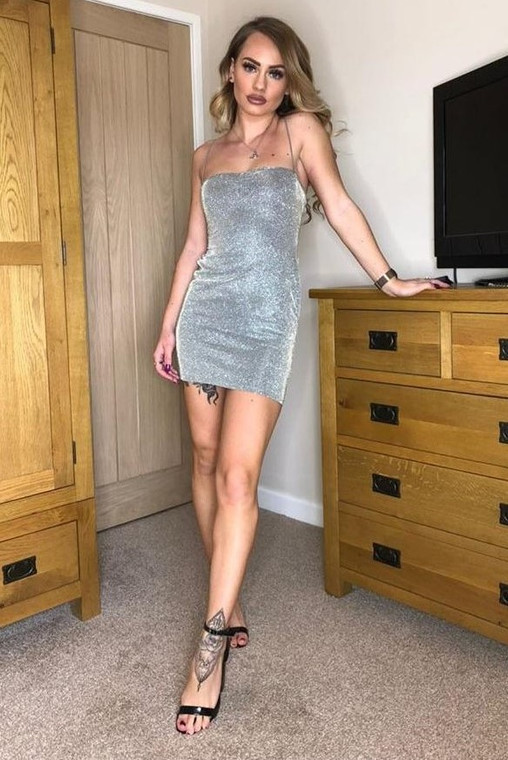 Silver Strappy Back Glitter Bodycon Dress