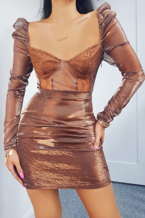 Copper Metallic Lace Cup Detail Mini Dress