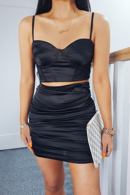 Black Satin Top & Ruched Skirt Co-ord