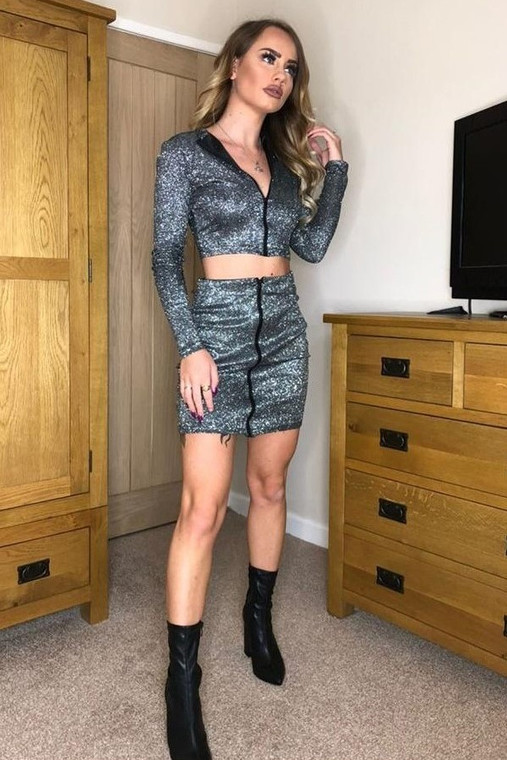 Black Glitter Zip Top & Mini Skirt Co-ord