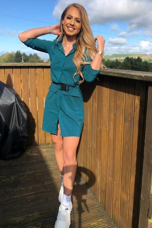 Emerald Belted Utility Shirt Dress