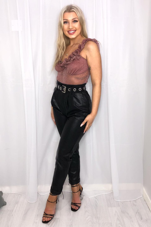 Rouge Glitter Mesh Ruffle Bodysuit