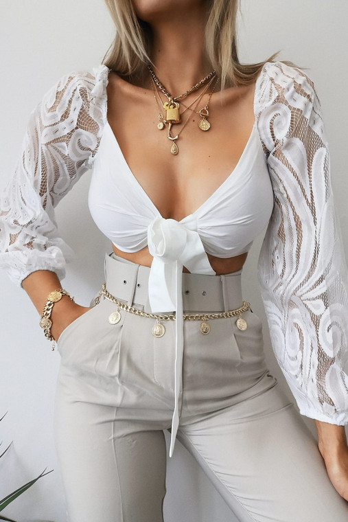 White Lace Sleeve Crop Top