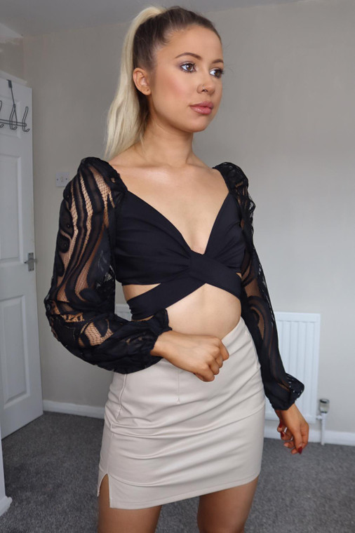 Black Lace Sleeve Crop Top