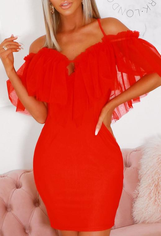 Red Ruffle Mesh Mini Dress