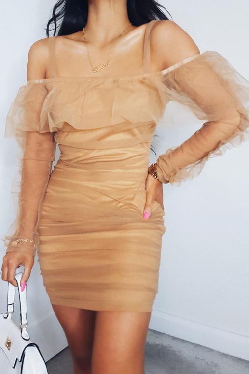 Nude Organza Mini Dress