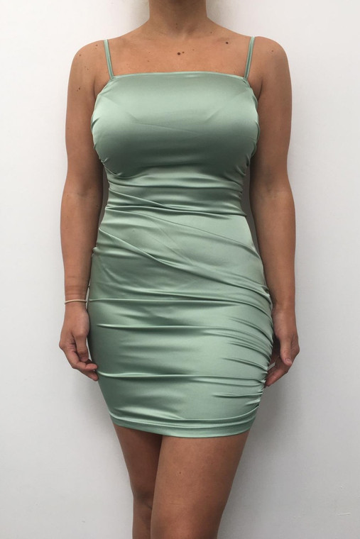 Sage Ruched Satin Mini Dress