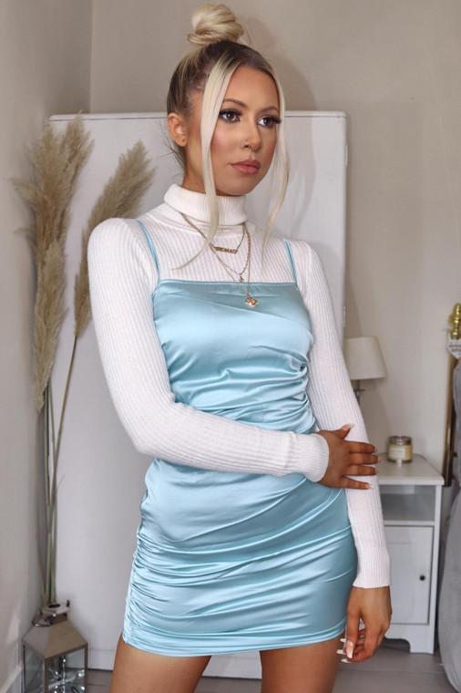 Powder Blue Ruched Satin Mini Dress