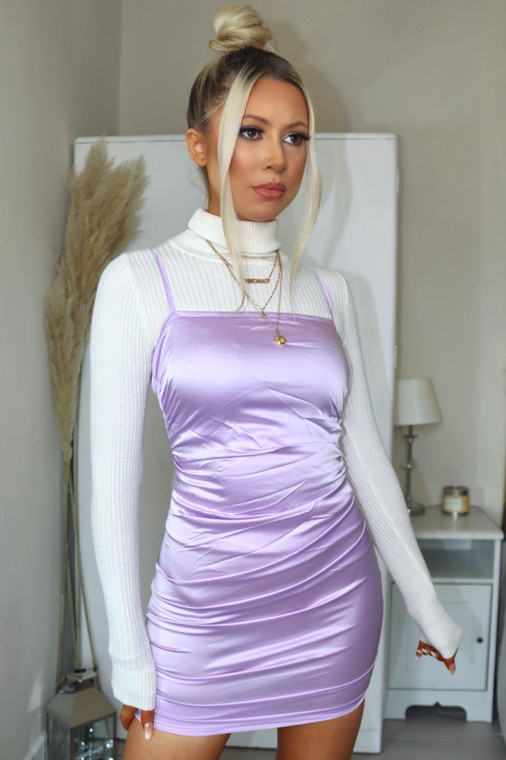 Lilac Ruched Satin Mini Dress