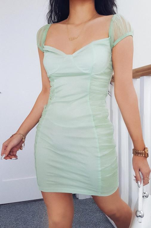 Sage Bardot Ruched Mini Dress