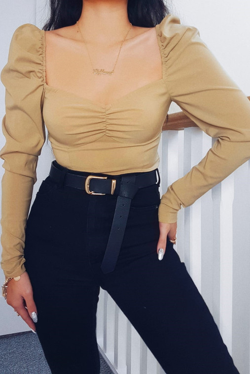 Nude Long Sleeve Puff Shoulder Top