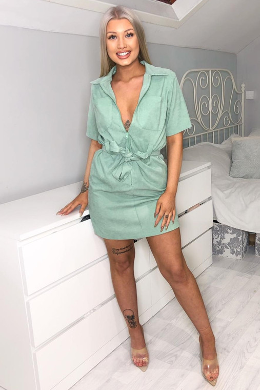 Sage Cord Belted Utility Dress