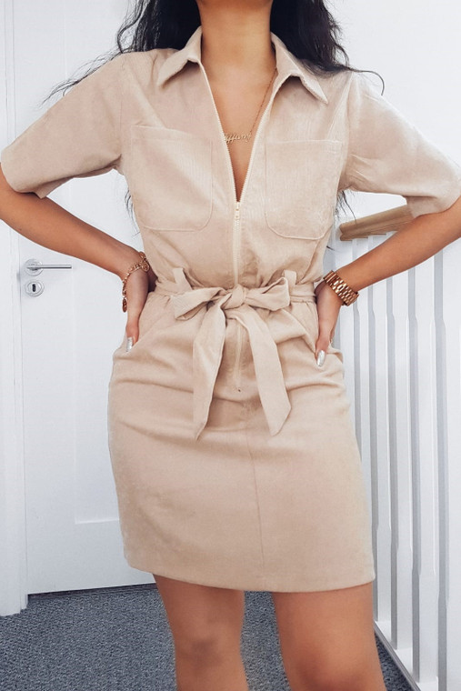 Oat Cord Belted Utility Dress