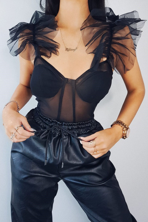 Black Frill Shoulder Bodysuit