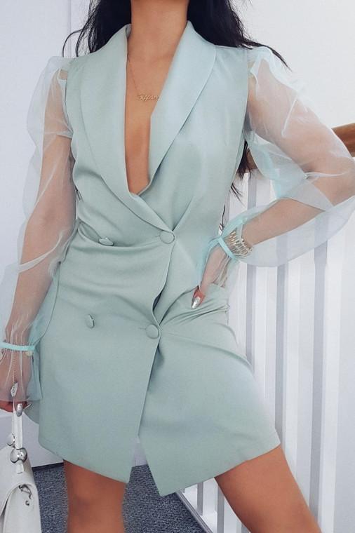 Sage Organza Sleeve Blazer-Style Mini Dress
