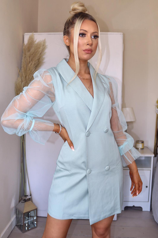 Sage Organza Sleeve Blazer-Style Mini Dress