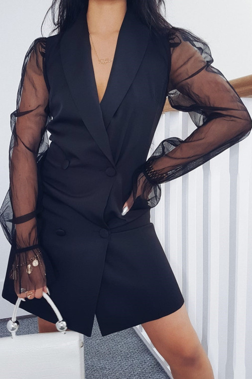 Black Organza Sleeve Blazer-Style Mini Dress