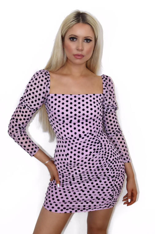 Lilac Polka Dot Long Sleeve Dress
