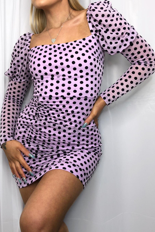 Lilac Polka Dot Long Sleeve Dress