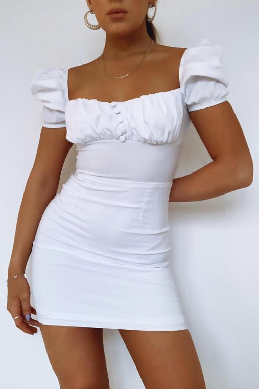 White Milkmaid Bardot Mini Dress (10 pack)
