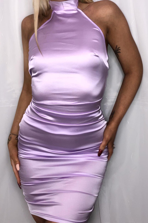 Lilac Halter Neck Satin Mini Dress