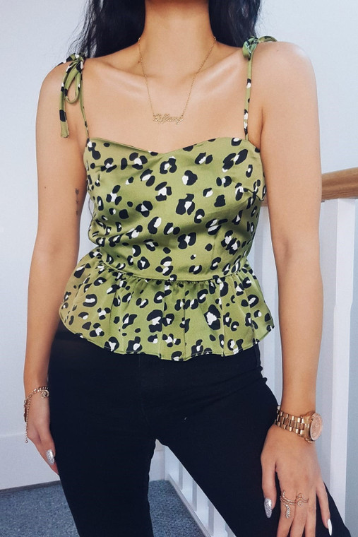 Sage Animal Print Strappy Cami Top