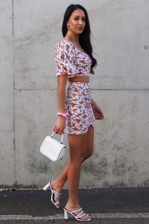 White Floral Print Ruched Co-ord
