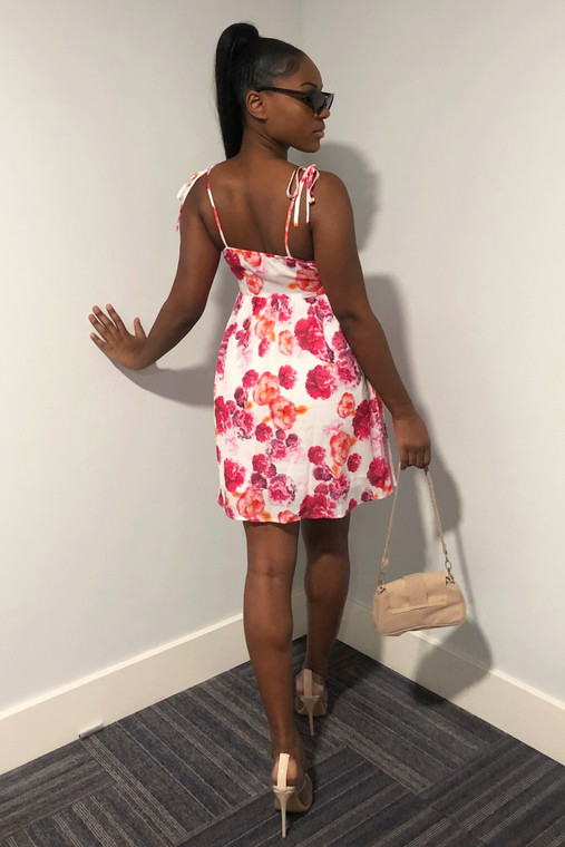 Pink Floral Strappy A-line Mini Dress