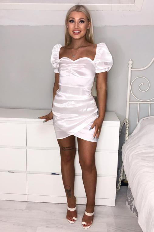 Cream Puff Sleeve Ruched Mini Dress