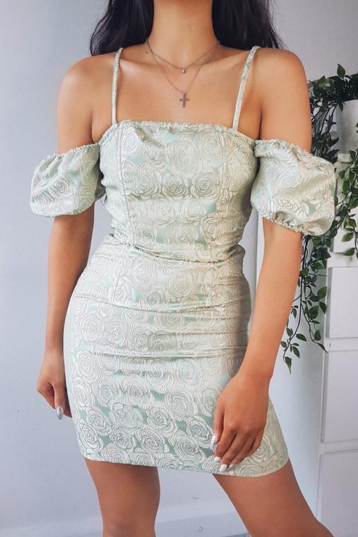 Green Jacquard Print Mini Dress