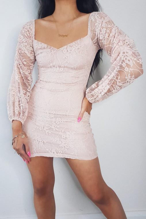 Pink Lace Sleeved Mini Dress